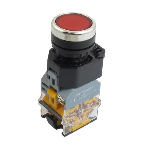 Red Momentary Ac 220V Led Illuminated No/Nc Push Button Switch 380Vac 10 Amp