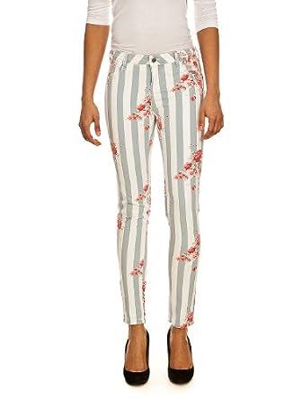 Jeans Jeg Print 994J Stripes Flowers TEDDY SMITH W24 Femme