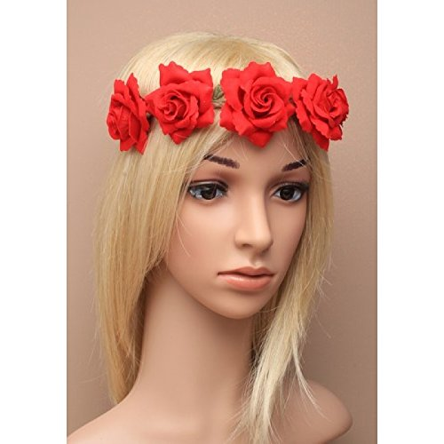 fabric-red-rose-head-garland-festival-boho-stretch-bandeaux