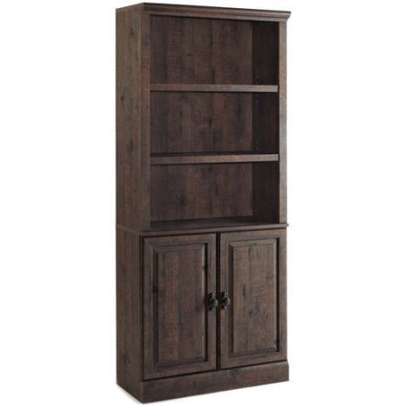 Better Homes and Gardens Crossmill Bookcase with Doors, 3 adjustable shelves 2 doors (Heritage Walnut) (Glass Bookcase 3 Shelves compare prices)