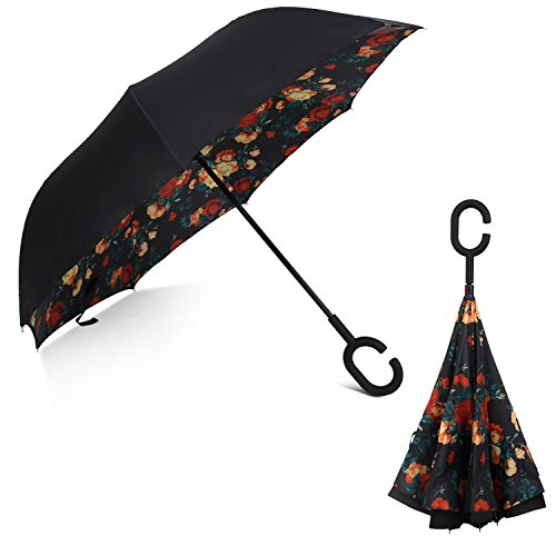 Rainlax Inverted Umbrella Double Layer Windproof Anti UV Protection Umbrellas for Car Rain Outdoor with C-Shaped Handle (Black,Floral)