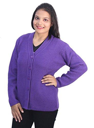 Romano Women's Classy Purple Winter Woollen Sweater Cardigan
