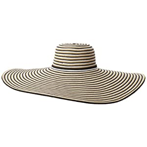 San Diego Hat Women's Striped Extra Large Brim Floppy Hat, Neutral, One Size