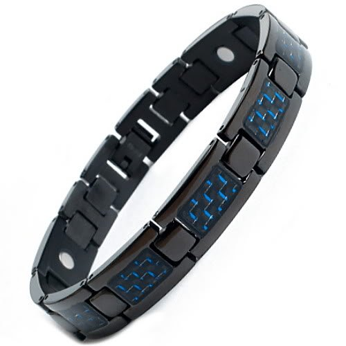 Willis Judd New Mens Black Titanium Magnetic Bracelet with Blue Carbon Fiber Insets Free Link Removal Tool