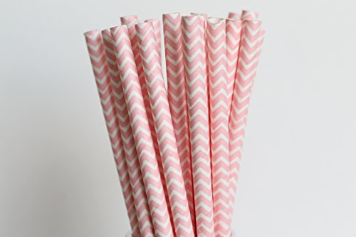 Pink And White Chevron Paper Straw   25 Ct front-995995