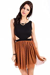 Audrey 3+1 Polka Dot Orange Skirt Dress in Black