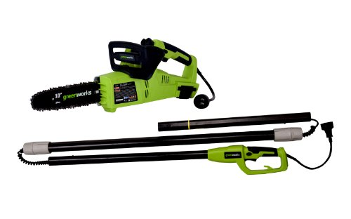 Read About GreenWorks 20062 7 Amp 2-in-1 Corded 10″ Pole Saw/Chainsaw