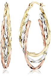 """14k Gold Tri-Color Triple Hoop Earrings (1"""" Diameter)"""