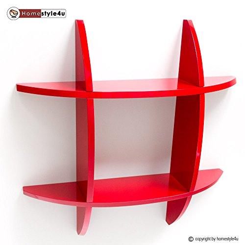 Homestyle4u Wandregal Cube Wandboard Retro Regal Bücherregal rot Regale