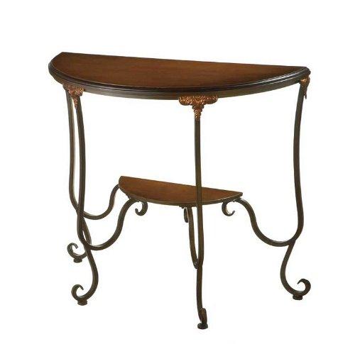 Cheap Crescent Console Sofa Table Scroll Legs Walnut Wood Top (B0043QGQVO)