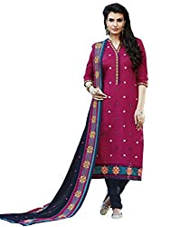 Kvsfab Pink & Dark Blue Cotton Cambric Embroidered un-stitched dress material