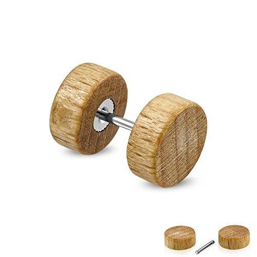 Held® legno Fake Plug in marrone chiaro-2misure a scelta-fedele orecchini Avvitare-hellb Rauner Fake Tunnel-Piercing, orecchini tunnel-Wood, [2.] - 10 mm
