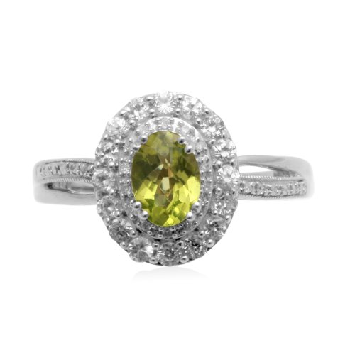 Sterling Silver Peridot with Created White Sapphire Diamond Ring, Size 7