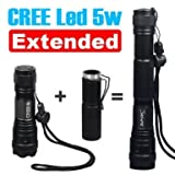 Promtion!!! The Best tools for your trip,Camping & Hiking,Brand New Extended LED Flashlight ,Black,-----Ship from UK, quickly delivered