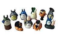 10 Piece Totoro Anime Action Figure Toys Set Including Chu Totoro, Chibi, and Catbus