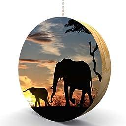 Elephant Sunrise Hardwood Oak Fan / Light Pull