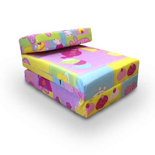 Comfortable Fun Colourful Childrens Z Bed Fold out Mattress Chair, Peppa Pig Seaside NEW Design