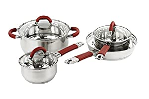 7 Pcs Professional Stainless Steel Cookware Set w/ Red Handles