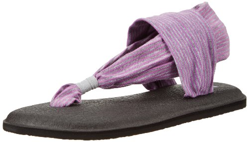 Sanuk Kids Yoga Sling Girls Youth Flip Flop,Lavender/Grey Stripes,1-2 M Us Little Kid front-927732