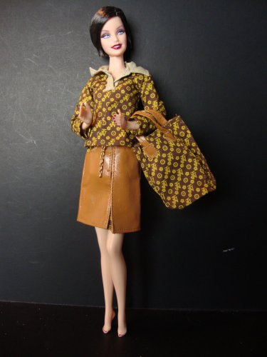 Visit A Sophisticated 3 Pc Set Brown Shirt Tan Leather-like Skirt and Matching Handbag Made to Fit the Barbie Doll Details