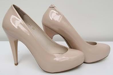 1121-Tacones altos, Nude Zapatos de charol