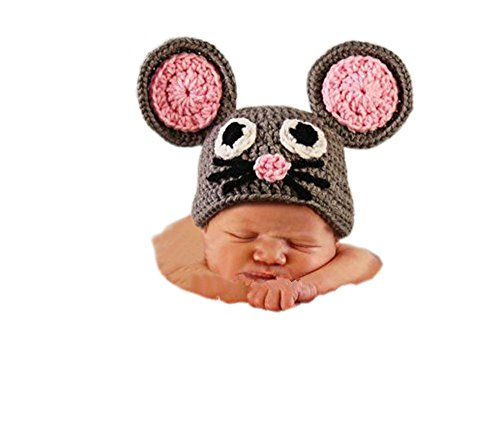 Pinbo Newborn Baby Photography Prop Crochet Knitted Animal Mouse Hat