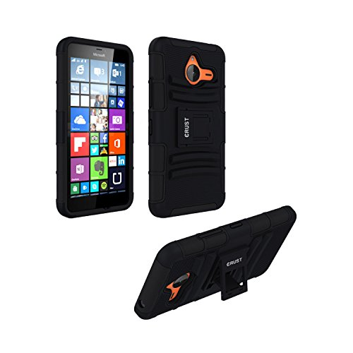 Lumia 640 XL Cover, CRUST™ Armor Case For Microsoft Lumia 640 XL Dual SIM LTE, Nokia Lumia 640XL Shock Proof High Impact Kick Stand Dual Layer Hard/Soft Back Cover (Black) - Retail Packaging