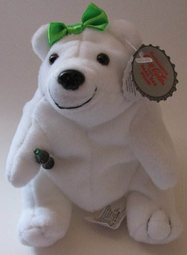 Coca-Cola Bean Bag Plush Polar Bear Girl with Green Bow on Head - 1
