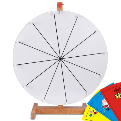 "Durable Spinning Board 20"" Round Tabletop Prize Wheel 12 Slots White Color Dry Erase Clicker W Brown Wood Stand Custom Sheet For Diy Desk Table Top Win Gift Game"