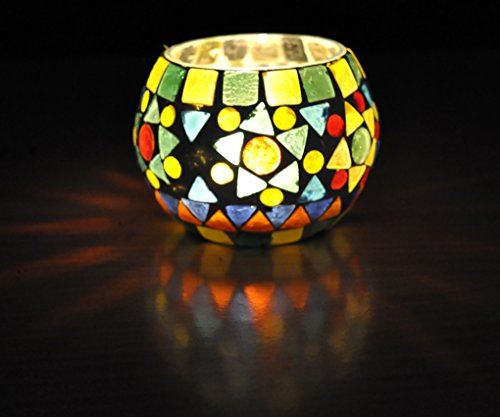 Indian Handcrafted Home Decorative Mosaic Glass Candle Holder 3 Inch