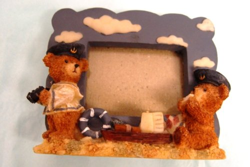 "Small Sailor Teddy Bears 3D Resin Picture Frame Holds 2 X 3"" Photo"