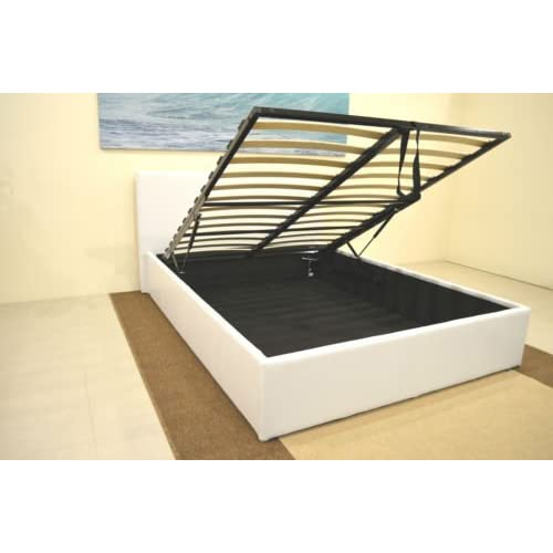 White 4ft6 Double Storage Ottoman Gas Lift Up Bed Frame TIGERBEDS BRANDED PRODUCT