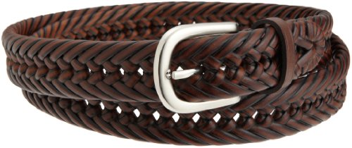 Wrangler Mens Big And Tall Hand Woven Leather Belt, Brown, 46