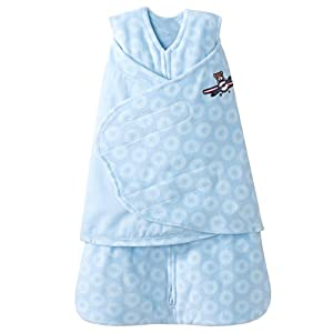 HALO SleepSack Micro Fleece Swaddle, Blue Aviator, Small