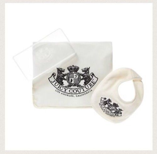 Juicy Couture Unisex Travel Diaper Set - Bib, Changing Pad, & Wipes Case