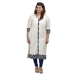 Damyantii Women's Plus Size Straight White Cotton L Kurta