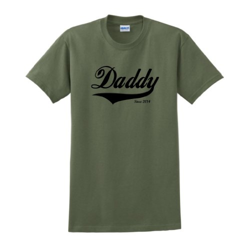 Daddy Since 2014 T-Shirt Large Military Green front-905840