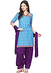 Soundarya Womens Cotton Unstitched Dress Material (Pat11 _Purple)