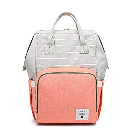 Diaper Bag Multi-Function Waterproof Nappy Backpack for Travel with Baby, Large Capacity, Stylish and Durable (Orange, Stripe Style)