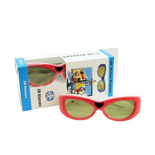 3D-Brille ACTIVE HDTV-Shutterbrille für Kinder mit Infrarot IR in pink/weiß passend für Sony, Panasonic, Samsung, Sharp, Philips, LG, Toshiba