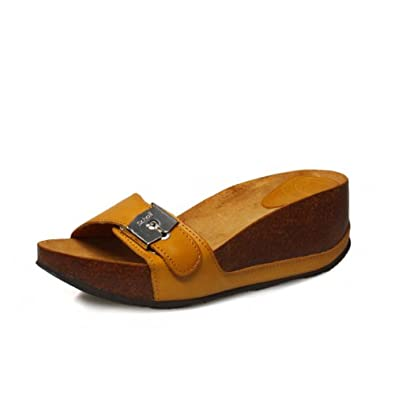 Scholl Musal Tan Waxed Leather Wedge Sandals-UK 8