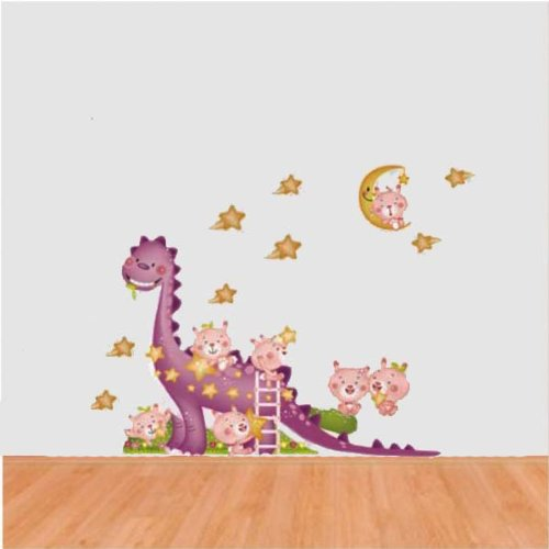 PeelCo Large Imagination Pink Dinosaur Home Décor Sticker for Child's Nursery Room - 1