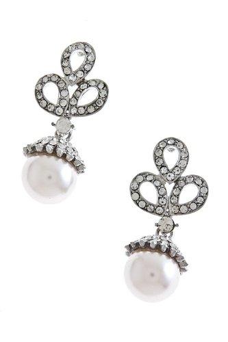 The Jewel Rack Crystal Set Pearl Dangle Earrings (Lt Pink)