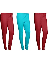 Indistar Women Cotton Legging Comfortable Stylish Churidar Full Length Women Leggings-maroon/Turquoise-Free Size-Pack...