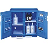 "Justrite 24160 Safety Cabinet for Corrosive Liquids, Padlockable Doors, Thirty 1 Liter bottles, 35"" Height, 36"" Width, 23-1/2"" Depth, Polyethylene, Blue"