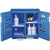 "Justrite 24160 Safety Cabinet for Corrosive Liquids, Padlockable Doors, Thirty 1 Liter bottles, 35"" Height, 36"" Width, 23-1/2"" Depth, Polyethylene, Blue"