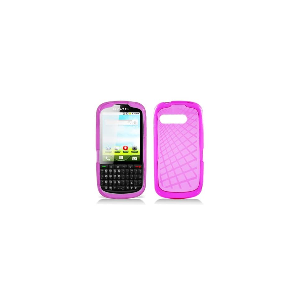 Clear Pink Flex Cover Case for Alcatel One Touch OT 910 910c Cell Phones & Accessories