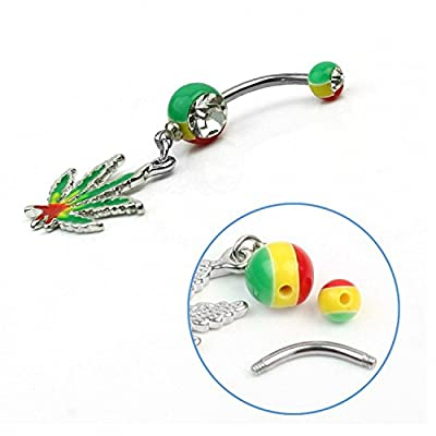 Ecloud ShopUS® Bright Jamaican Pot Leaf Steel Girl Dangle Belly Navel Button Ring