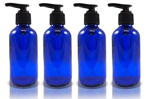 4oz Cobalt Glass Boston Round Pump Bottles (4 Pack) (Pump For Glass Jar compare prices)