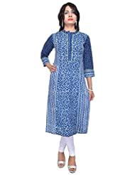 NAKSH JAIPUR Indigo Straight Long With Stand Collar With Tagai